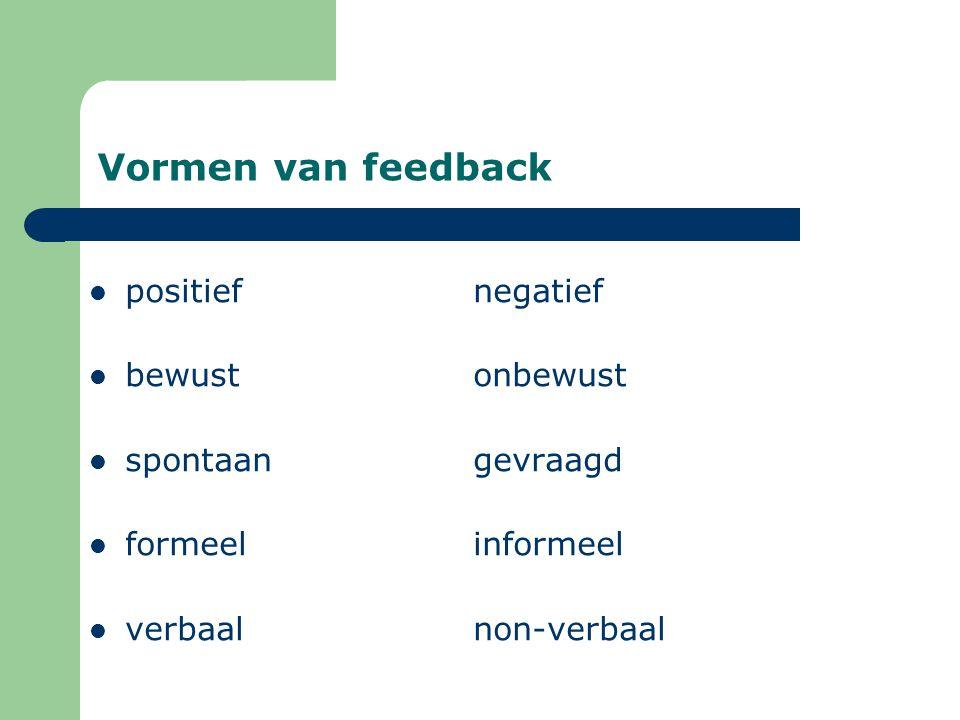 Vormen van feedback positief negatief bewust onbewust
