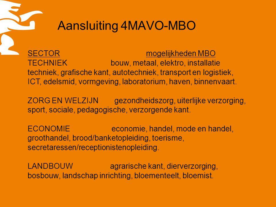 Aansluiting 4MAVO-MBO SECTOR mogelijkheden MBO