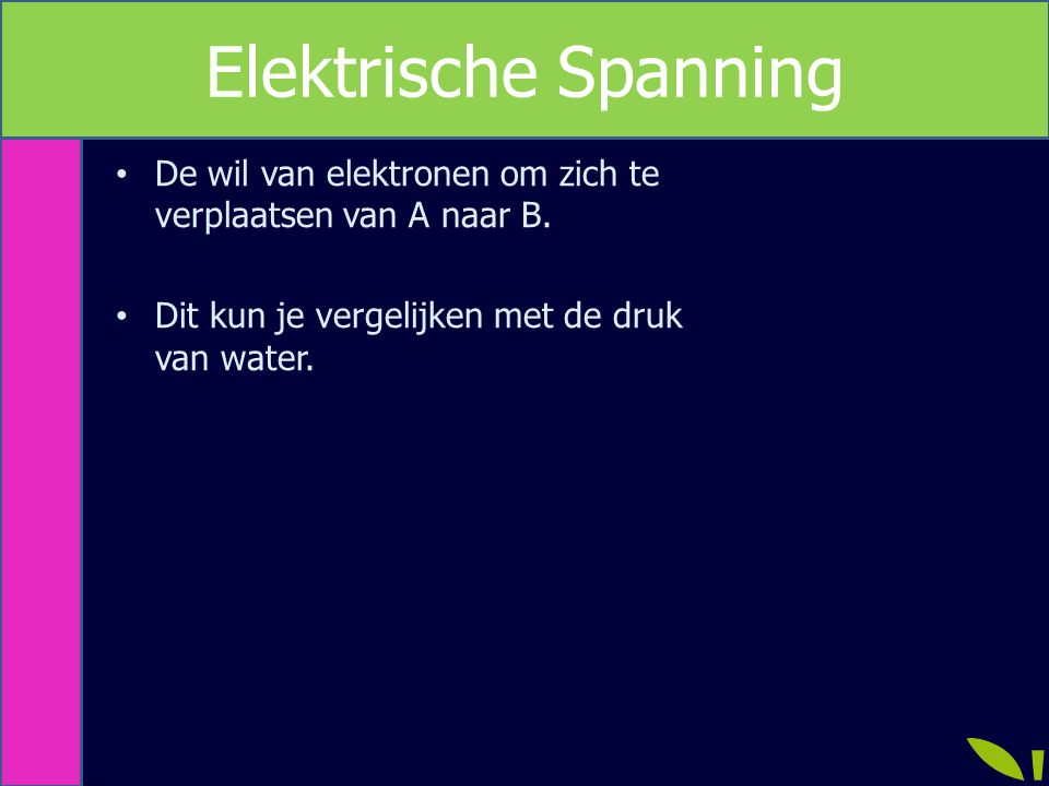 Elektrische Spanning De wil van elektronen om zich te verplaatsen van A naar B.