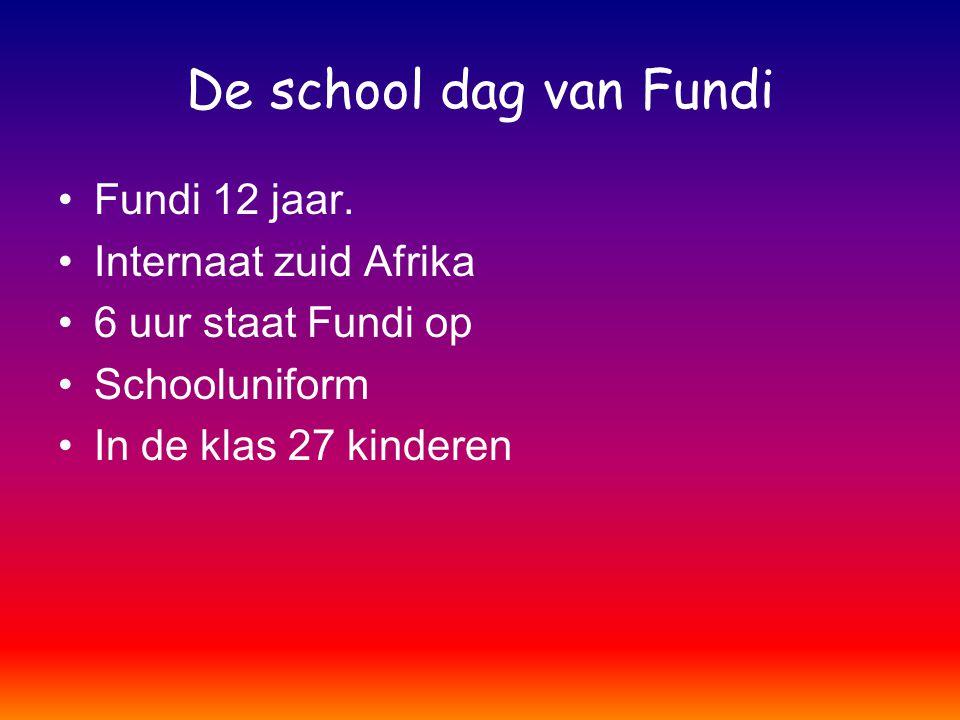 De school dag van Fundi Fundi 12 jaar. Internaat zuid Afrika