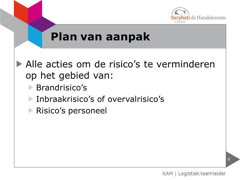 Plan van aanpak Alle acties om de risico's te verminderen op het gebied van: Brandrisico's. Inbraakrisico's of overvalrisico's.