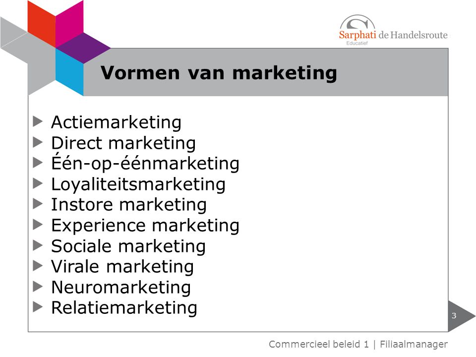 Vormen van marketing Actiemarketing Direct marketing