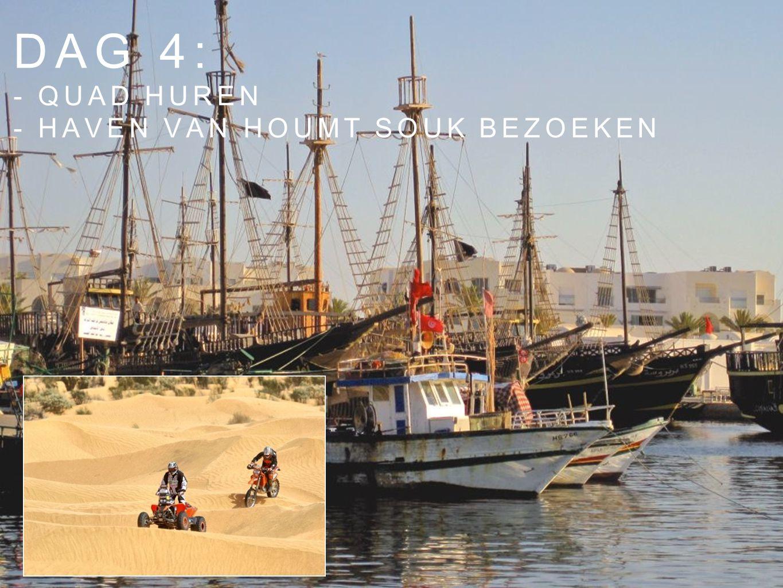 Dag 4: - Quad huren - haven van houmt souk bezoeken
