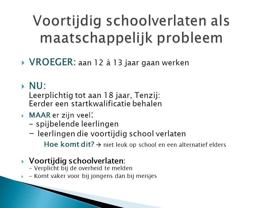 Voortijdig schoolverlaten als maatschappelijk probleem