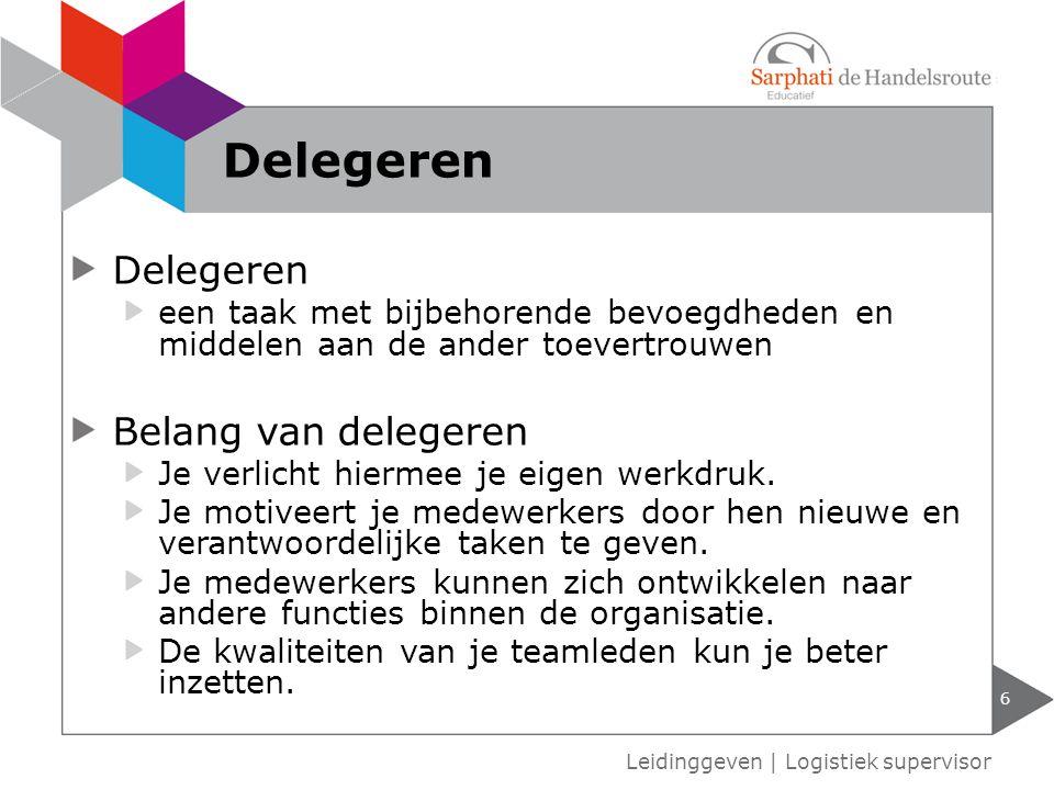 Delegeren Delegeren Belang van delegeren