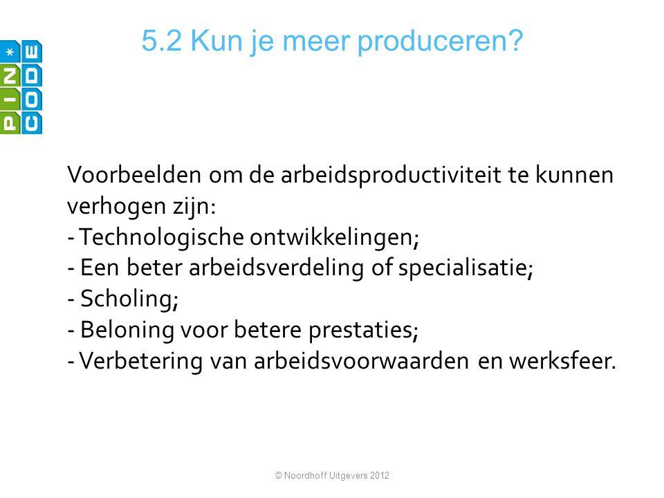 5.2 Kun je meer produceren Voorbeelden om de arbeidsproductiviteit te kunnen verhogen zijn: Technologische ontwikkelingen;