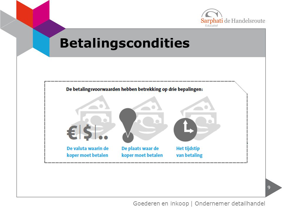 Betalingscondities Goederen en inkoop | Ondernemer detailhandel