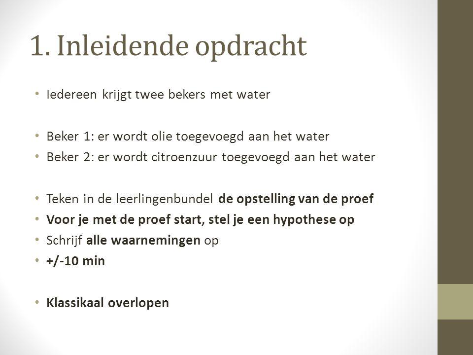 1. Inleidende opdracht Iedereen krijgt twee bekers met water