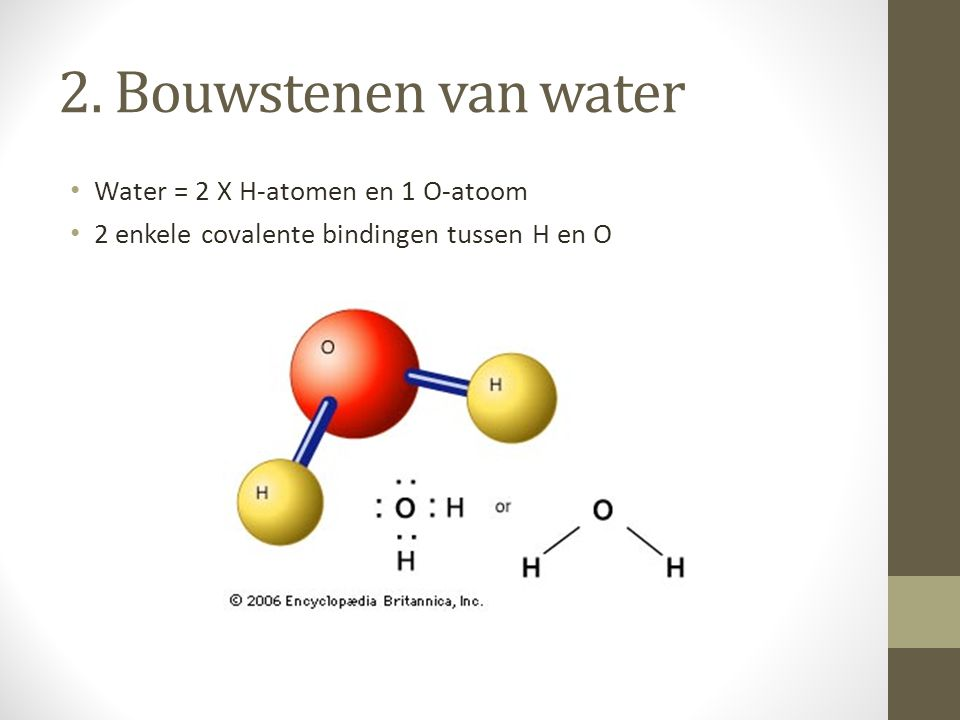 2. Bouwstenen van water Water = 2 X H-atomen en 1 O-atoom