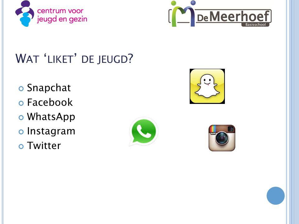 Wat 'liket' de jeugd Snapchat Facebook WhatsApp Instagram Twitter