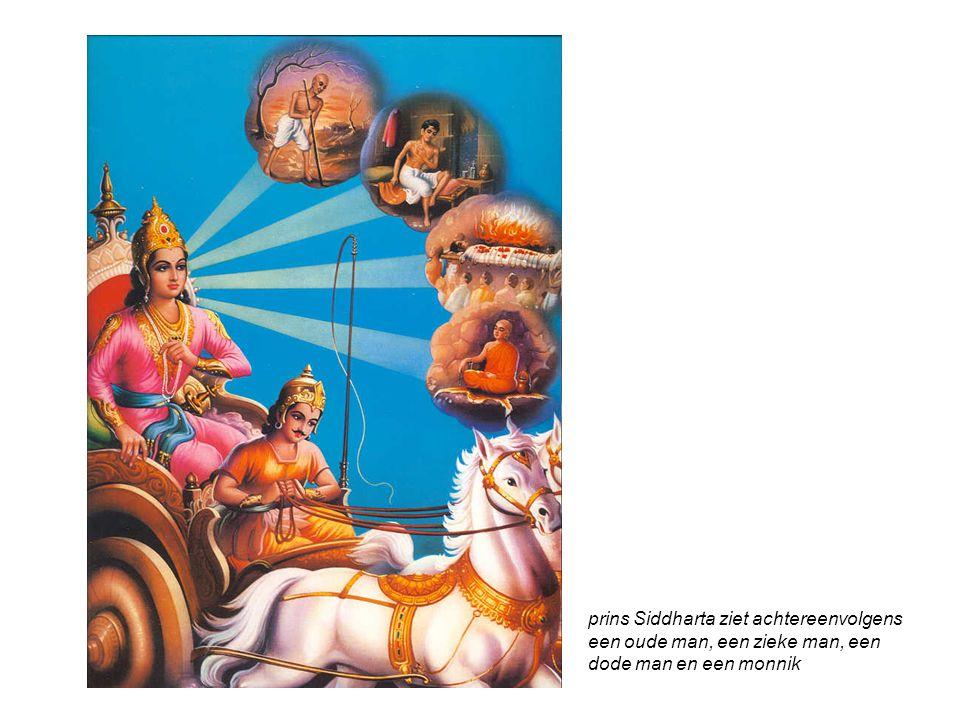 prins Siddharta ziet achtereenvolgens een oude man, een zieke man, een dode man en een monnik