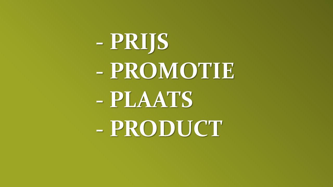 - PRIJS - PROMOTIE - PLAATS - PRODUCT