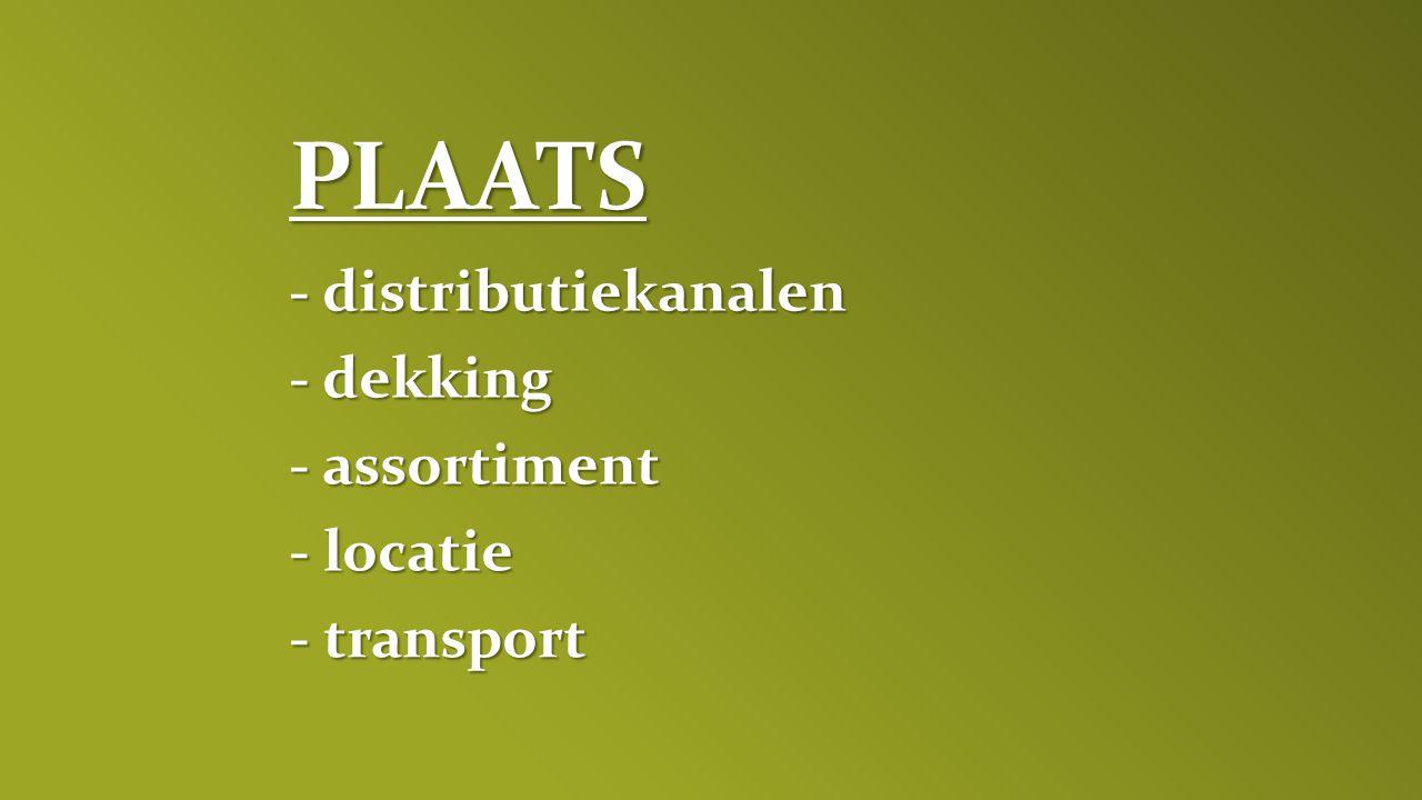 PLAATS - distributiekanalen - dekking - assortiment - locatie