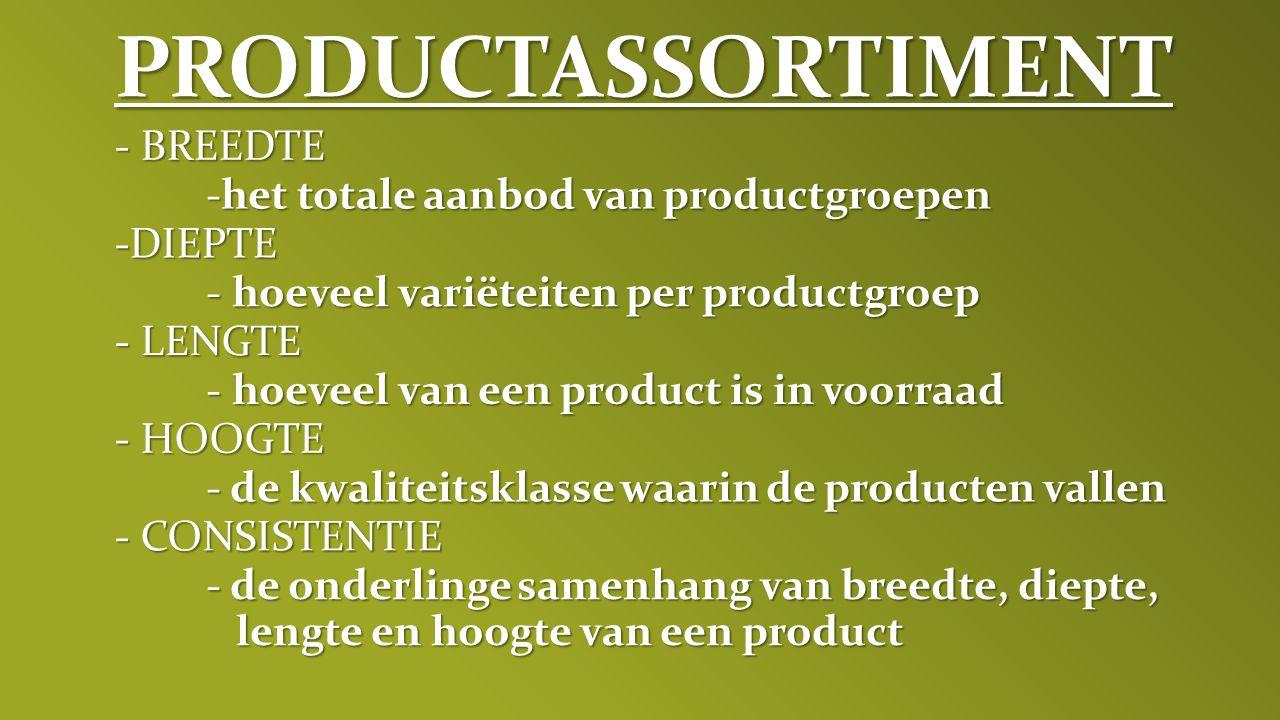 PRODUCTASSORTIMENT - BREEDTE het totale aanbod van productgroepen