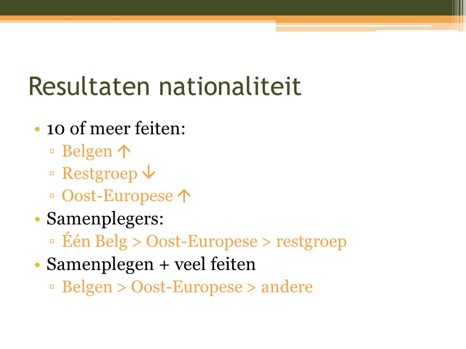 Resultaten nationaliteit