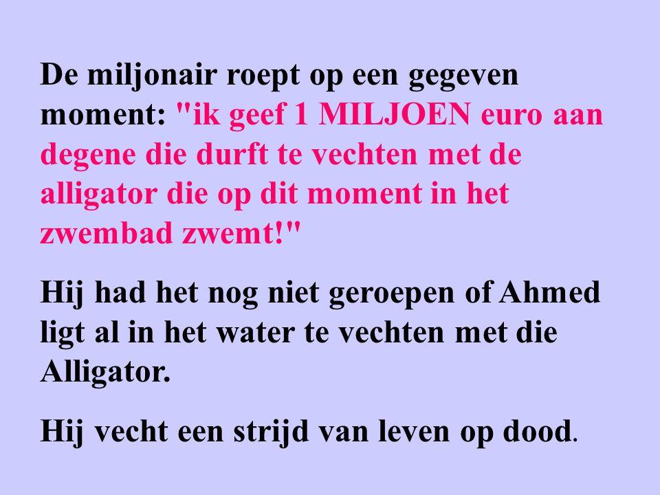 De miljonair roept op een gegeven moment: ik geef 1 MILJOEN euro aan degene die durft te vechten met de alligator die op dit moment in het zwembad zwemt!