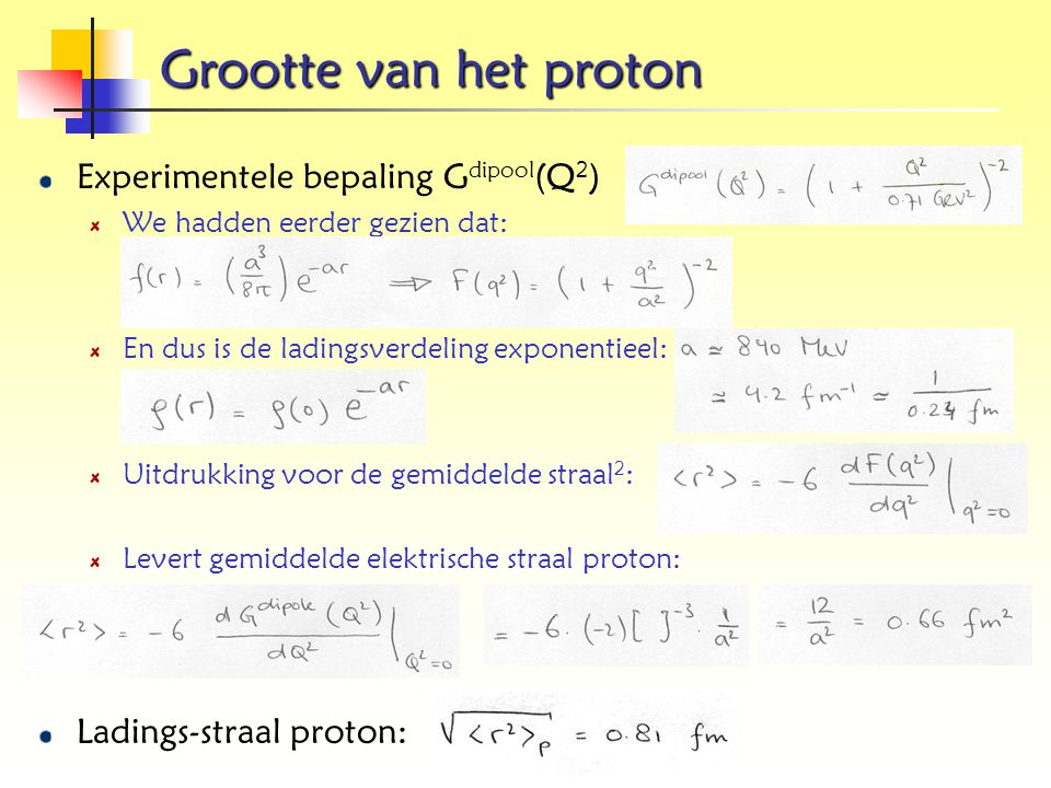 Grootte van het proton Experimentele bepaling Gdipool(Q2)