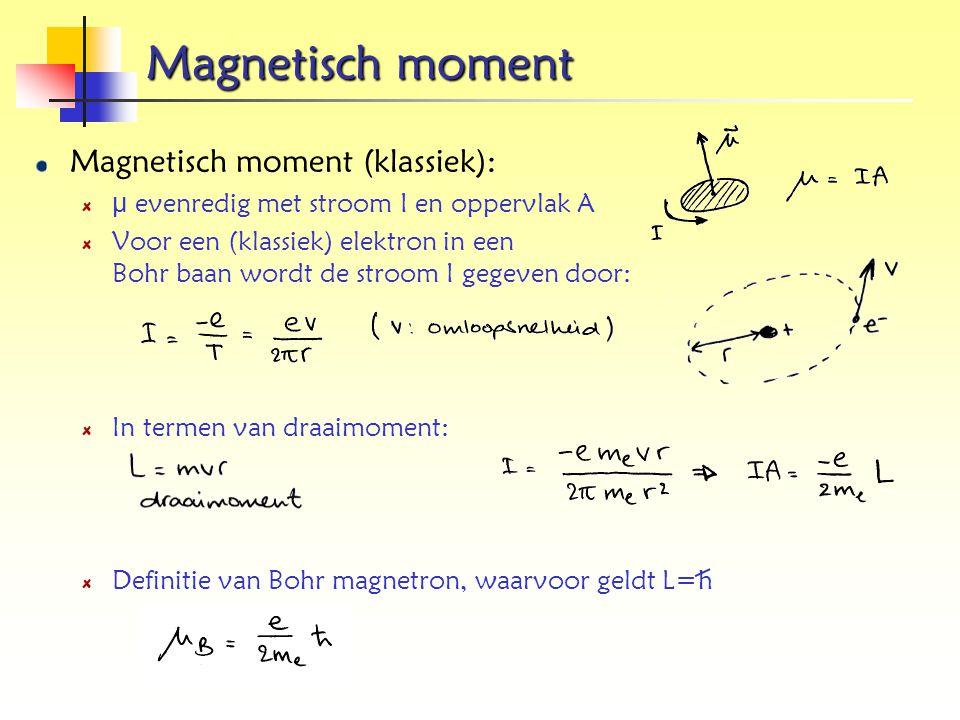 Magnetisch moment Magnetisch moment (klassiek):