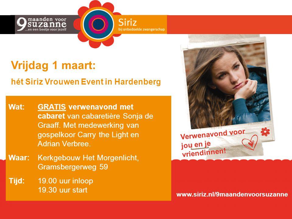Vrijdag 1 maart: hét Siriz Vrouwen Event in Hardenberg