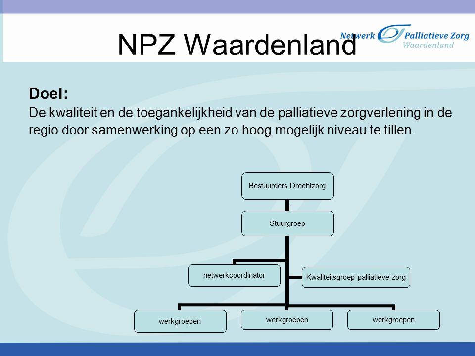 NPZ Waardenland Doel: De kwaliteit en de toegankelijkheid van de palliatieve zorgverlening in de.