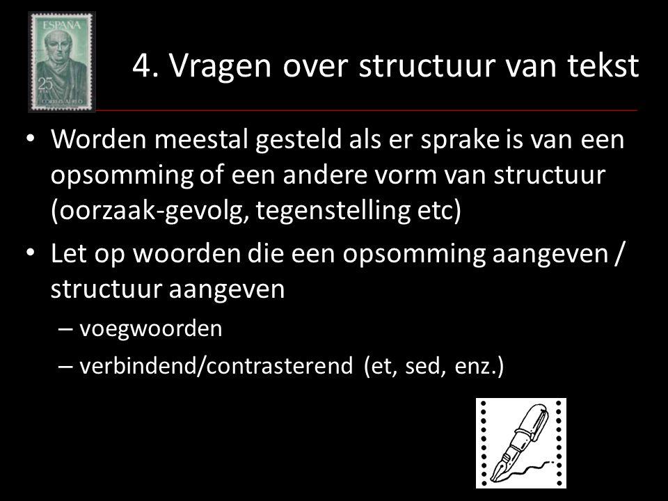 4. Vragen over structuur van tekst