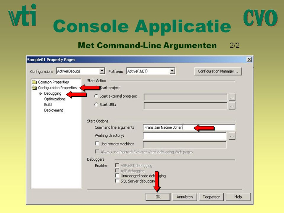 Console Applicatie Met Command-Line Argumenten 2/2 R