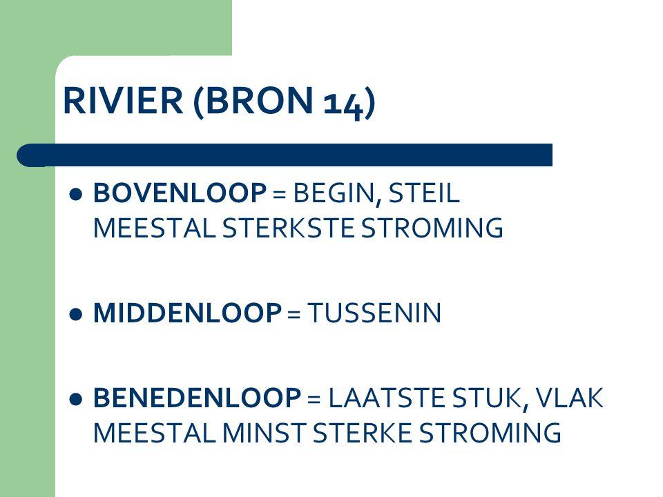 RIVIER (BRON 14) BOVENLOOP = BEGIN, STEIL MEESTAL STERKSTE STROMING