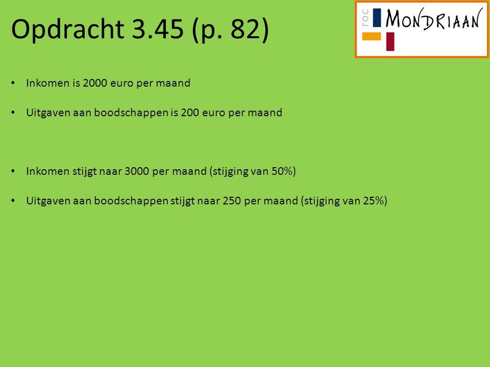 Opdracht 3.45 (p. 82) Inkomen is 2000 euro per maand
