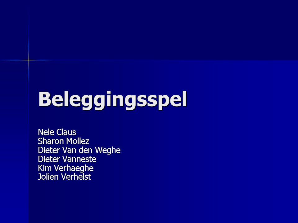 Beleggingsspel Nele Claus Sharon Mollez Dieter Van den Weghe Dieter Vanneste Kim Verhaeghe Jolien Verhelst.