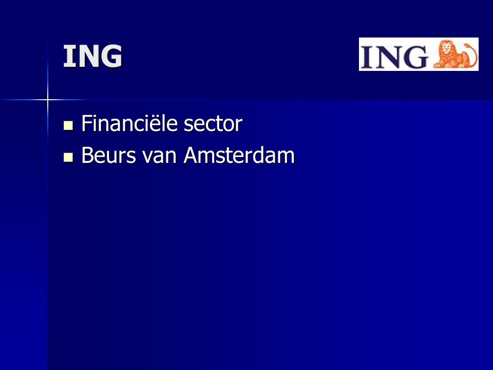 ING Financiële sector Beurs van Amsterdam