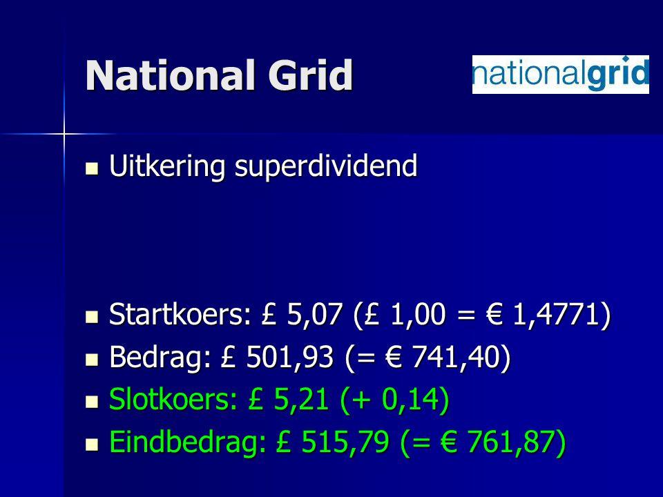 National Grid Uitkering superdividend