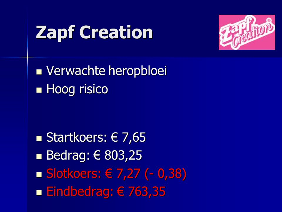 Zapf Creation Verwachte heropbloei Hoog risico Startkoers: € 7,65