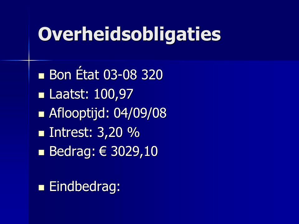 Overheidsobligaties Bon État 03-08 320 Laatst: 100,97
