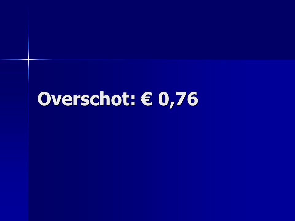 Overschot: € 0,76