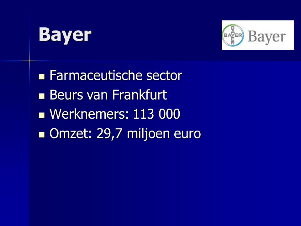 Bayer Farmaceutische sector Beurs van Frankfurt Werknemers: 113 000