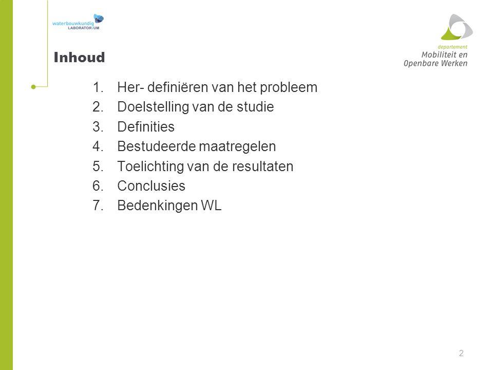 Inhoud Her- definiëren van het probleem. Doelstelling van de studie. Definities. Bestudeerde maatregelen.