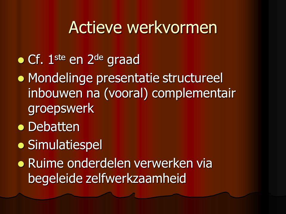 Actieve werkvormen Cf. 1ste en 2de graad