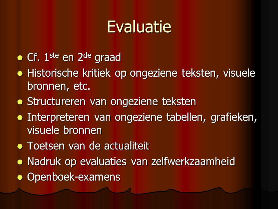 Evaluatie Cf. 1ste en 2de graad