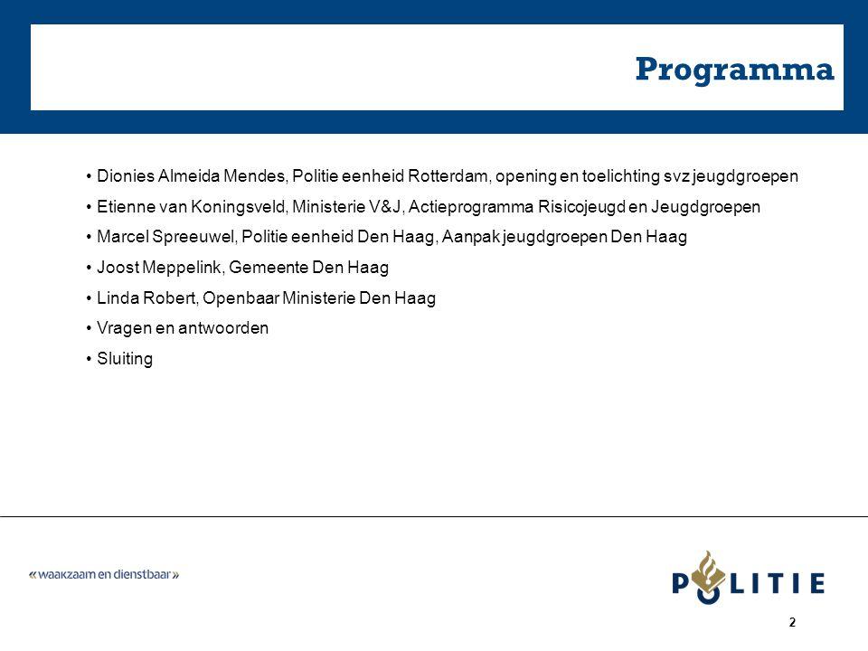 Programma Dionies Almeida Mendes, Politie eenheid Rotterdam, opening en toelichting svz jeugdgroepen.
