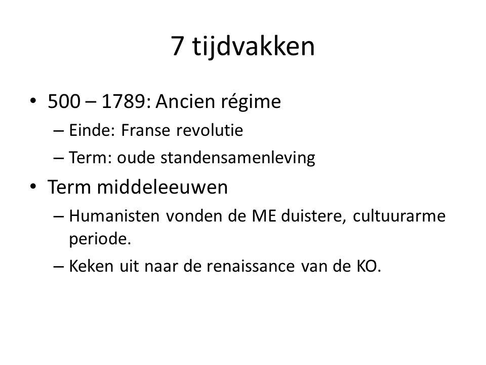 7 tijdvakken 500 – 1789: Ancien régime Term middeleeuwen
