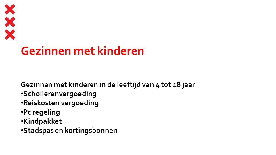 Gezinnen met kinderen Gezinnen met kinderen in de leeftijd van 4 tot 18 jaar. Scholierenvergoeding.