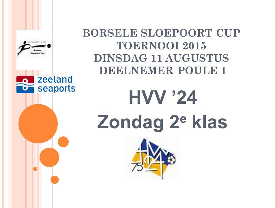 BORSELE SLOEPOORT CUP TOERNOOI 2015 DINSDAG 11 AUGUSTUS DEELNEMER POULE 1