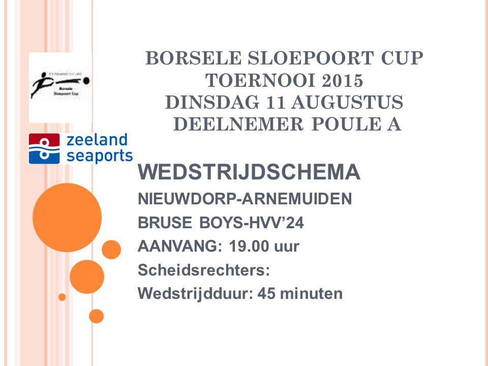 BORSELE SLOEPOORT CUP TOERNOOI 2015 DINSDAG 11 AUGUSTUS DEELNEMER POULE A