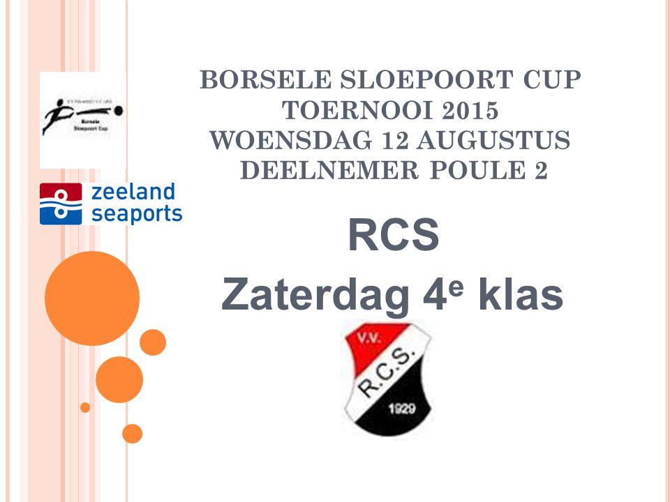 BORSELE SLOEPOORT CUP TOERNOOI 2015 WOENSDAG 12 AUGUSTUS DEELNEMER POULE 2