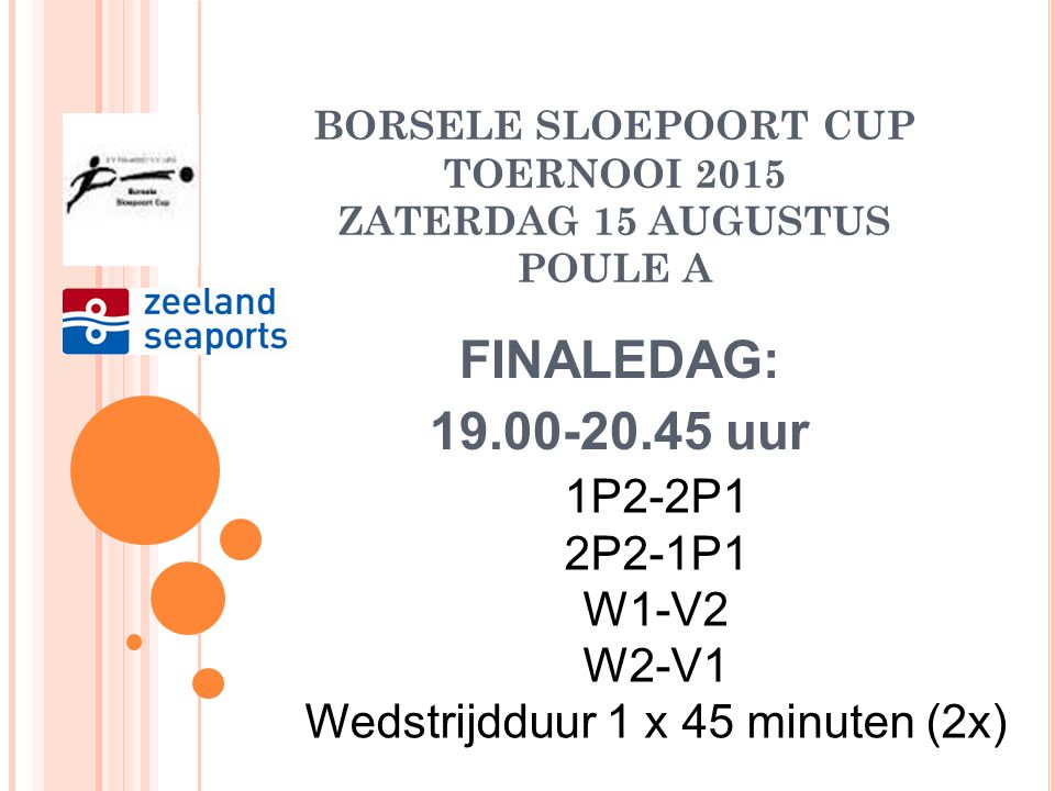 BORSELE SLOEPOORT CUP TOERNOOI 2015 ZATERDAG 15 AUGUSTUS POULE A