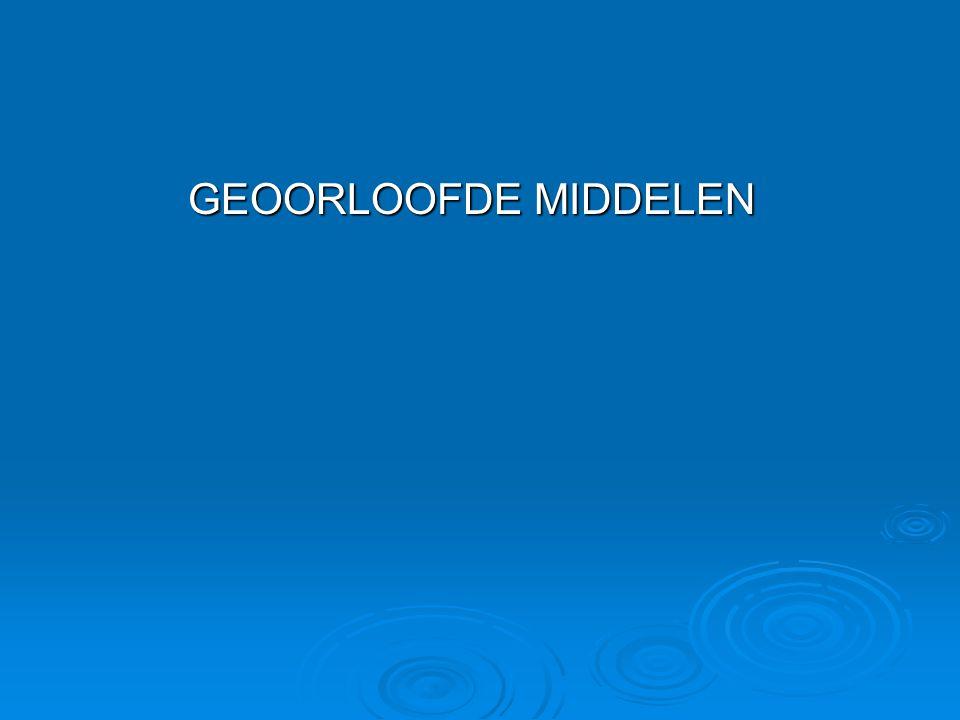 GEOORLOOFDE MIDDELEN
