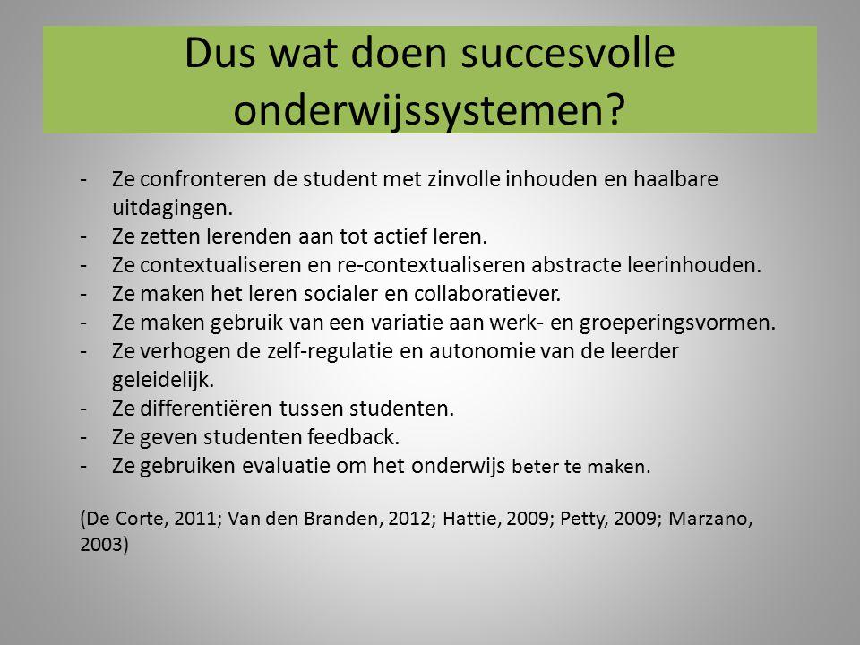 Dus wat doen succesvolle onderwijssystemen