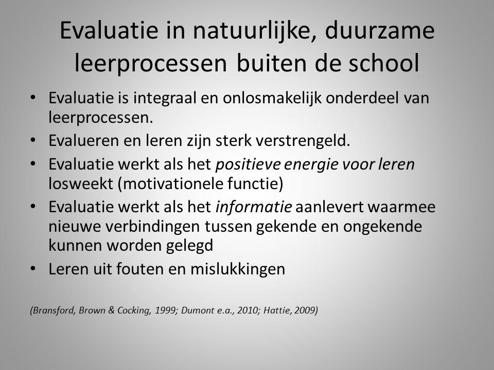 Evaluatie in natuurlijke, duurzame leerprocessen buiten de school