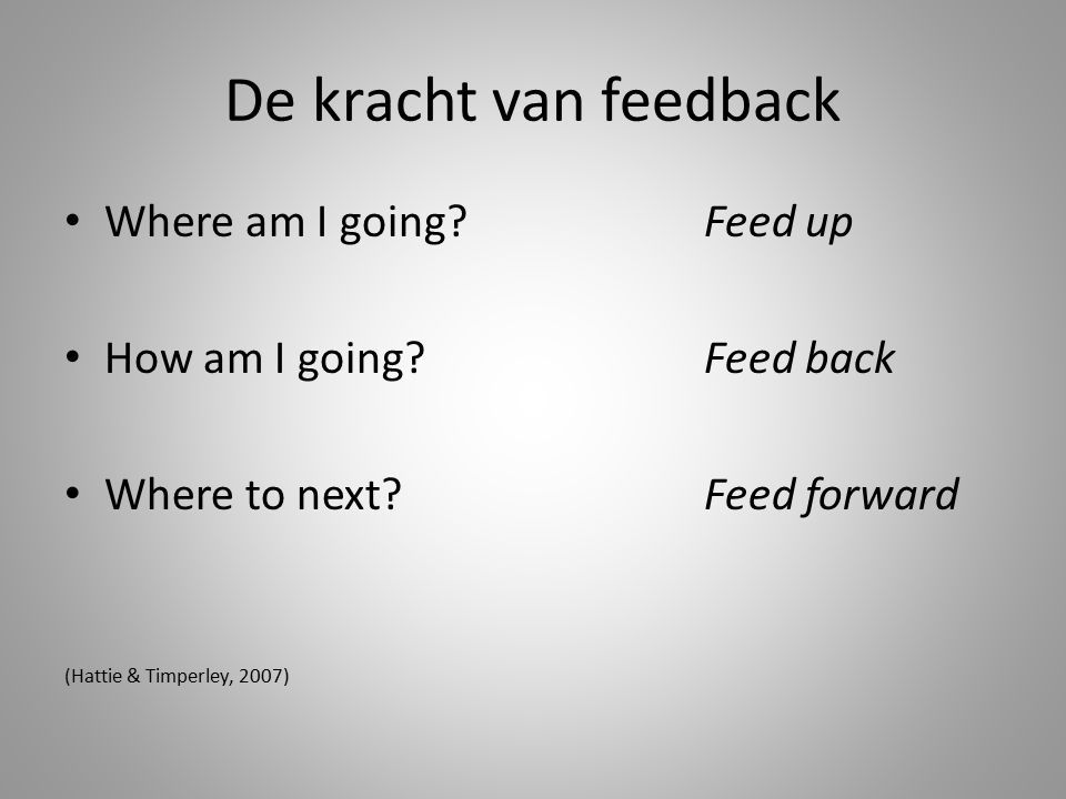 De kracht van feedback Where am I going Feed up