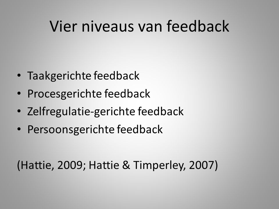 Vier niveaus van feedback